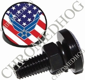 Sm Black Billet License Plate Bolts - USAF - US Flag