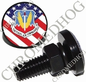 Sm Black Billet License Plate Bolts - USAF Tactical - US Flag