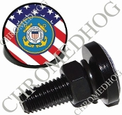 Sm Black Billet License Plate Bolts - Coast Guard - US Flag