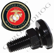 Sm Black Billet License Plate Bolts - USMC Marine Corps