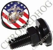 Sm Black Billet License Plate Bolts - USMC EGA - US Flag