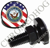Sm Black Billet License Plate Bolts - Navy - US Flag
