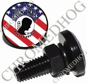 Sm Black Billet License Plate Bolts - POW*MIA - US Flag