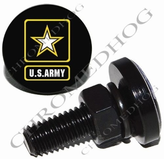 Sm Black Billet License Plate Bolts - Army Logo - Black