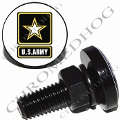 Sm Black Billet License Plate Bolts - Army Logo - White