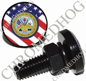 Sm Black Billet License Plate Bolts - Army Dept - US Flag
