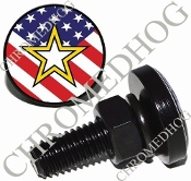 Sm Black Billet License Plate Bolts - Army Star - US Flag