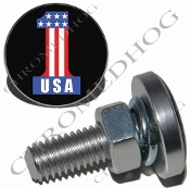 Sm Silver Billet License Plate Bolts - #1 USA Black