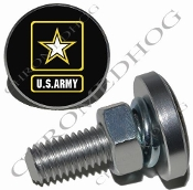 Sm Silver Billet License Plate Bolts - Army Logo - Black