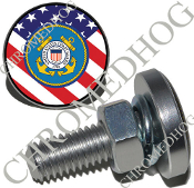 Sm Silver Billet License Plate Bolts - Coast Guard - US Flag
