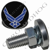 Sm Silver Billet License Plate Bolts - USAF - Black