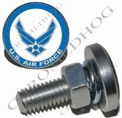 Sm Silver Billet License Plate Bolts - USAF - Air Force