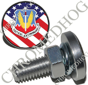 Sm Silver Billet License Plate Bolts - USAF Tact - US Flag