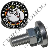 Sm Silver Billet License Plate Bolts - USMC Devil Dog - Black