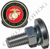 Sm Silver Billet License Plate Bolts - USMC Marine Corps