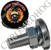 Sm Silver Billet License Plate Bolts - Fire Fighter - Black