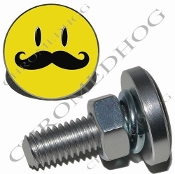 Sm Silver Billet License Plate Bolts - Smile Face 'Stache