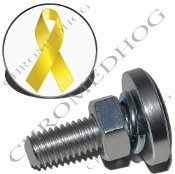 Sm Silver Billet License Plate Bolts - Ribbon - Yellow/White
