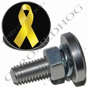 Sm Silver Billet License Plate Bolts - Ribbon - Yellow/Black