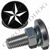 Sm Silver Billet License Plate Bolts - Star - White/Black