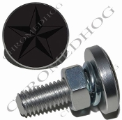 Sm Silver Billet License Plate Bolts - Star - Black/Gray