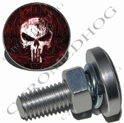 Sm Silver Billet License Plate Bolts - Punisher Skull