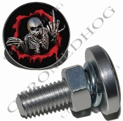Sm Silver Billet License Plate Bolts - Skeleton - Red