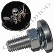 Sm Silver Billet License Plate Bolts - Skeleton - Black