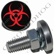 Sm Silver Billet License Plate Bolts - Hazard - Red