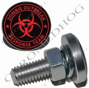 Sm Silver Billet License Plate Bolts - Zombie Outbreak - R/B