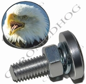 Sm Silver Billet License Plate Bolts - Eagle - Screaming