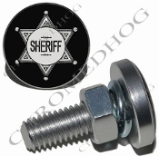 Sm Silver Billet License Plate Bolts - Sheriff Badge - Black