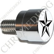 Twin Cam Air Cleaner Bolt - S SM Chrome Billet Star - Blk/Wht