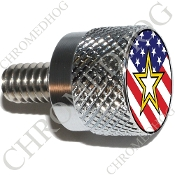 Twin Cam Air Cleaner Bolt - S KN Chrome Billet Army Star - Flag