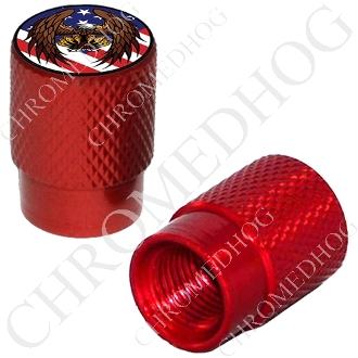 Knurled Valve Stem Caps - Eagle - Flag - 2