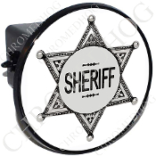 Tow Hitch Cover - Sheriff Badge - White