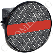 Tow Hitch Cover - Red Line - Diamond Plate