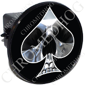 Tow Hitch Cover - Spade - Chrome Skull - Black