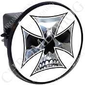 Tow Hitch Cover - Iron Cross - Chrome Skull - White