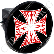 Tow Hitch Cover - Iron Cross - Red Flame - White/ Black