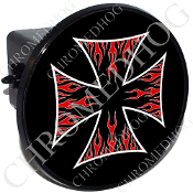 Tow Hitch Cover - Iron Cross - Red Flame - Black/ Black