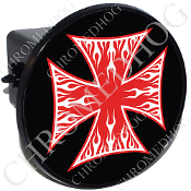 Tow Hitch Cover - Iron Cross - White Flame - Red/ Black