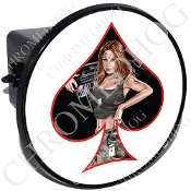 Tow Hitch Cover - Pin Up Spade - Army - Black/White