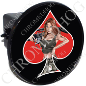 Tow Hitch Cover - Pin Up Spade - Army - Red/Black