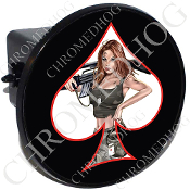 Tow Hitch Cover - Pin Up Spade - Army - White/Black