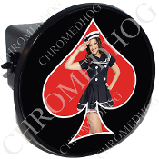 Tow Hitch Cover - Pin Up Spade - Navy - Red/Black
