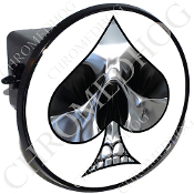 Tow Hitch Cover - Spade - Chrome Skull - White