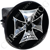 Tow Hitch Cover - Iron Cross - Chrome Skull - Black