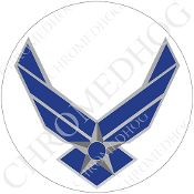 Premium Round Decal - USAF Air Force Logo - White