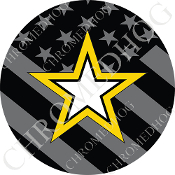 Premium Round Decal - Army Star - Ghost Flag